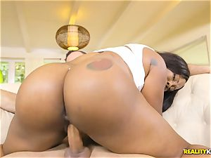 hefty ebony bouncy booty of Lessy Devoe rammed rock-hard