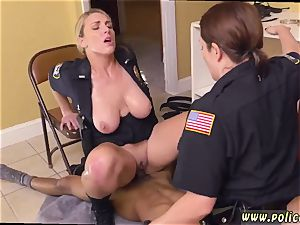 stud fucks real cop and mummy enjoys to hard-core dark-hued male squatting in home gets our cougar