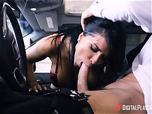 Romi Rain nailed in the back of the car