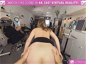 VRBangers.com Hairdresser Ella plumbed firm and facial cumshot