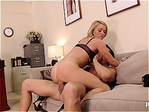 Krissy Lynn testing a huge bone