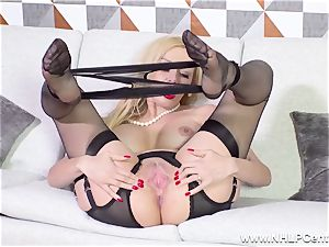 wonderful milf strips off ebony lingerie frigging in nylons