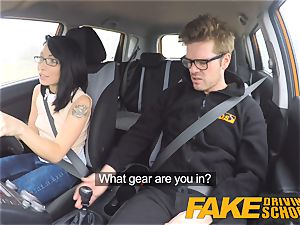 faux Driving school insane ride for diminutive brit japanese