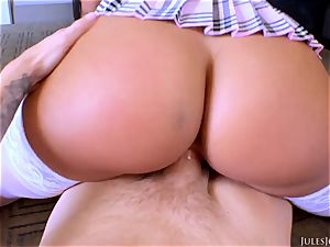 marvelous college girl in mini-skirt and stocking Gianna Nicole gets plowed by her stepparent