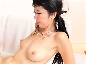asian beauty Marica Hase deep throats and pummels a big black cock