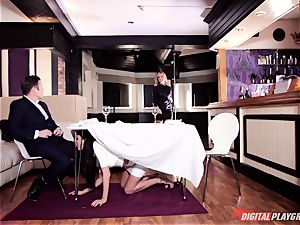 ultra-kinky Frenchwoman Anissa Kate tempts family dude under table