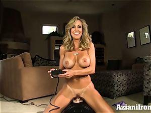 Brandi enjoy rails the sybian saddle naked