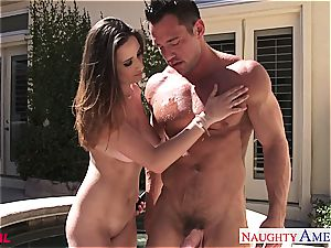 witness as Ashley Adams gets a fountain on her funbags