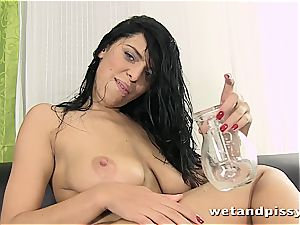 sweetheart Kira goddess makes her stockings a dirt with piss
