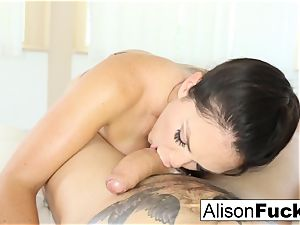 Alison Tyler gives a stunning blow job with titty plowing