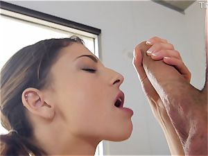 Picking up tiny Kristen Scott and eating her pink gash out
