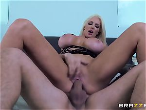 My wife's lewd huge culo sis Nicolette Shea riding my pecker in the matrimonial couch