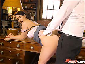 Headmistress Eva Lovia plays with her wild college girl