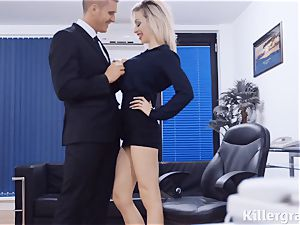 super-naughty promiscuous assistant Chessie Kay has hook-up with her massive manager at the office