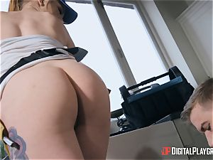 girl plumber sits her puss on monster trunk on the job