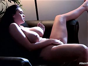 Alison disrobes off her lingerie to have fun with herself