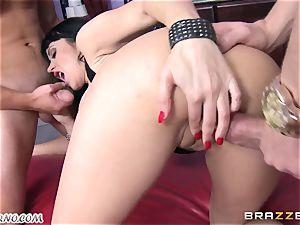 inebriated cougar Eva Karera with massive bra-stuffers indulges on the soiree