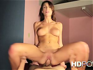 HD pov super-fucking-hot brown-haired with big mounds loves to bounce stiffy