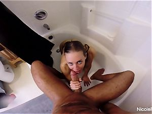 humid point of view bathroom orgy with Nicole Aniston