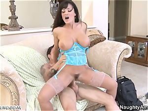 marvelous famous milf Lisa Ann has a passionate intercourse with a young stud