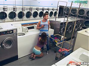 Dillion Harper pounded in a laundry basket