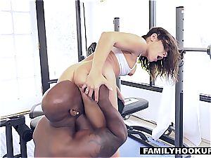 Abella rails her stepdaddys dark-hued cock