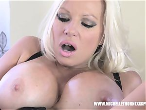 Oily blondie biker honey drains with a huge ebony toy