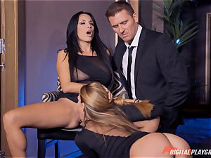 Anissa Kate and Subil bend slide some man sausage down their rosy pretty tacos