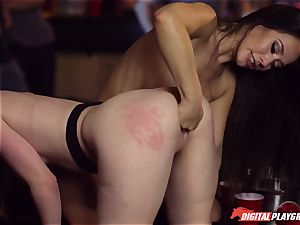 Red-headed fuckslut Ella Hughes and fatal brown-haired Eva Lovia have fuck-a-thon in a nightclub