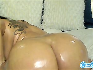 greased up huge-chested milf rides