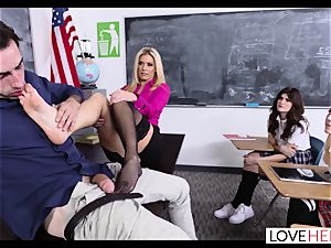blonde mummy tutor Gives a torrid Lesson In sole fuck-a-thon