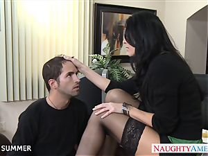 Stockinged India Summer plumbing on the desk
