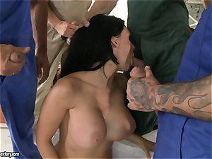 crazy paramour Aletta Ocean takes one man-meat at a time dipping steaming in her gullet