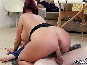 Solo nymph caboose buttplug and jizm inwards her big funbag Step-Mom Gets a massage
