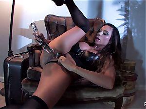 Ariella Ferrera drills herself with a immense glass plaything