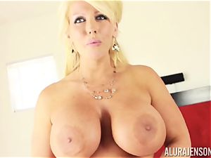 Alura Jenson attempts on her clothes whislt having a vibro stuck in her pussyhole