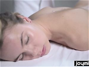 Joymii molten blondie gets caked in jism after her rubdown