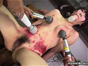 asian hoe likes to be bdsm handled to a wax display