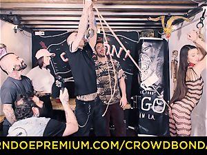 CROWD restrain bondage - Tiffany damsel gets slapped in domination & submission boink