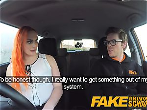 fake Driving college tattooed redhead covets a enormous manstick
