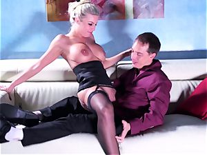 Britney gets a deep man-meat and explosion on her rump