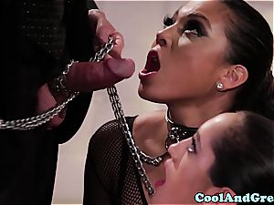 outstanding Adrianna Luna and Chloe Amour make out after three way