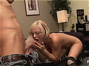 Geeky blonde concludes him off on her glasses