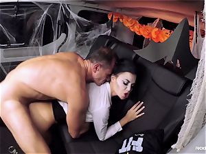 FuckedInTraffic - Jasmine Jae bangs in Halloween clothing