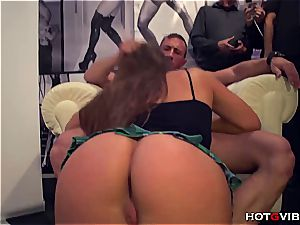 dark-haired in public getting her tight pink cooter nailed