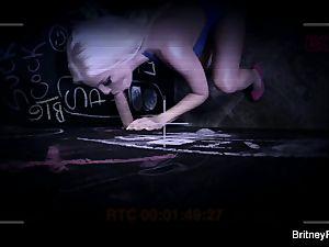 super-steamy blondie Britney deep throats a meaty manhood in the glory slot